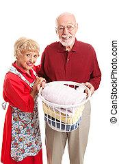 sênior, lavanderia, par, junto