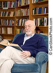 sênior, leitura, homem