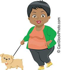 sênior, levando, passeio cachorro