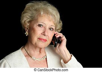 sênior, ligado, sério, telefonema