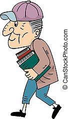 sênior, livros, homem, passeio