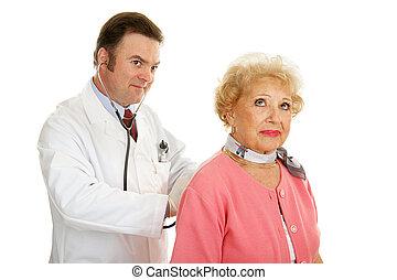 sênior, -, médico, escutar