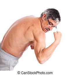 Sênior, mostrando,  bíceps, homem