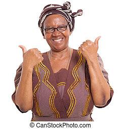 sênior, mulher africana, dar, dois polegares cima