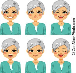 sênior, mulher feliz, rosto, expressões