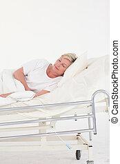 sênior, paciente, cama