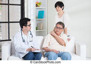 sênior, paciente, doutor