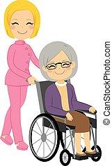 sênior, paciente, mulher, cadeira rodas