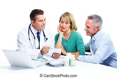 sênior, paciente, par., doutor