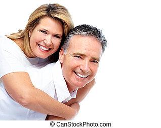 sênior, par., feliz