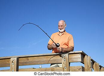 sênior, peixe, carretéis, homem