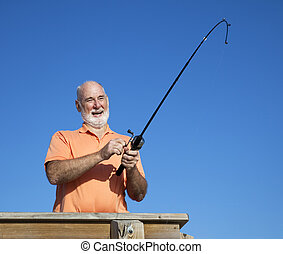 sênior, pesca, divertimento