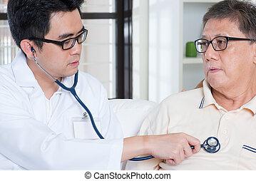 sênior, pessoas, cuidados de saúde