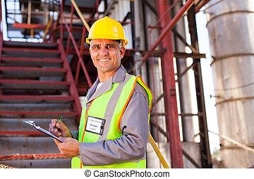 sênior, petrochemical, trabalhador
