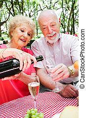 sênior, piquenique, -, champanhe torrencial