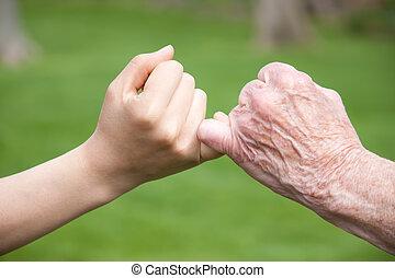 sênior, promessa, jovem, mãos