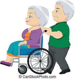Sênior, senhora, Cadeira rodas, antigas, par