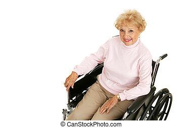 sênior, senhora, em, cadeira rodas, horizontais
