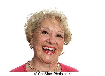 sênior, senhora, rir