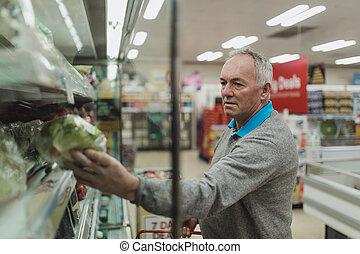 sênior, supermercado, homem
