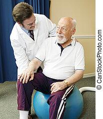 sênior, terapia física, homem, obtendo