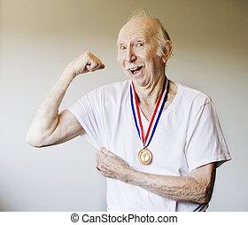 sênior, vencedor, medalha, cidadão