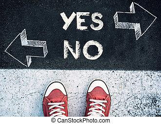 sì, e, no, dilemma