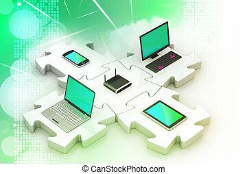 síť, a, internet, komunikace