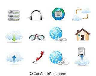 síť, ikona, sets