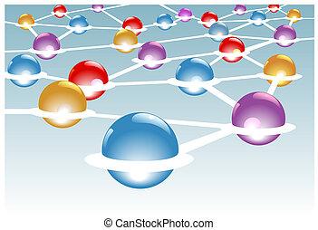 síť, modules, systém, spojený, nodusy, lesklý