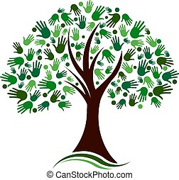 síť, ruce, strom, vektor, společenský, emblém