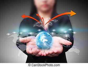 síť, společenský, komunikace, technika, pojem