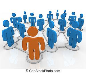 síť, společenský, zapojený, národ