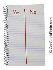 sí, contra, rojo, cuaderno, no