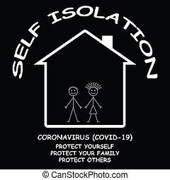 sí mismo, hogar, coronavirus, 19, aislar, covid