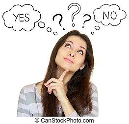sí, mujer, no, aislado, o, joven, Arriba, Mirar, Plano de...