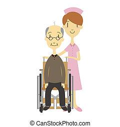 sílla de ruedas, anciano, hombre