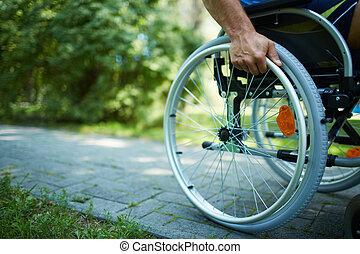 sílla de ruedas, caminata