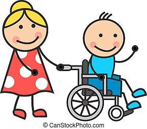 sílla de ruedas, caricatura, hombre