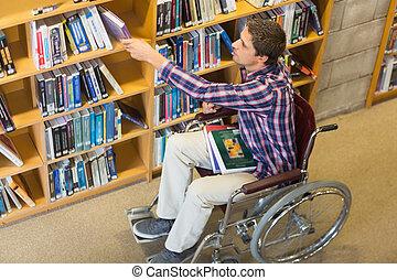 sílla de ruedas, libro, el seleccionar, hombre, biblioteca