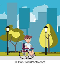 sílla de ruedas, parque, hombre