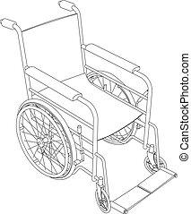 sílla de ruedas, vector, contorno