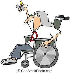 sílla de ruedas, viejo, hippy