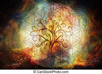 símbolo, árbol, plano de fondo, yggdrasil., vida, espacio, flor