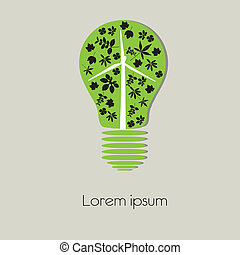 símbolo, árvore, bulbo, luz, conceito