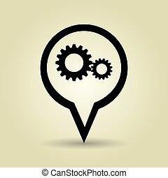 símbolo, ícone, desenho, engrenagem, isolado