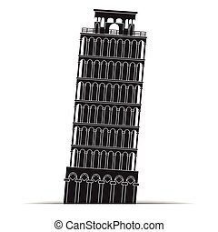 símbolo, ícones, torre, pisa