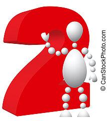 símbolo, 2, rojo, hombre