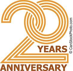 símbolo, 20, aniversário, anos