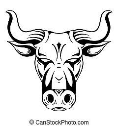 símbolo, 2021., nuevo, búfalo, toro, head., contorno, horns., año, metal, negro, silueta, vector, ilustración, contorno